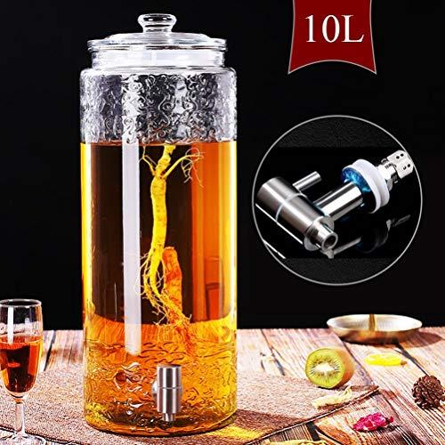 Juice Dispenser,5/7.5/10L Drink Dispenser met Lekvrije Spigot Glas Deksel Makkelijk schoon te maken, voor Citroen/Thee/Koud Water ~