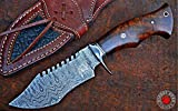 BIGCAT ROAR Custom Handmade Hunting Knife Viper Hunter, Full Tang Fixed Blade Damascus Steel - Walnut Wood Handle 10'' inch Overall with Leather Sheath