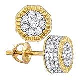 Boucles d'oreilles à tige en or jaune 10 carats avec diamants hexagonaux cannelés 1/2 carat pour homme