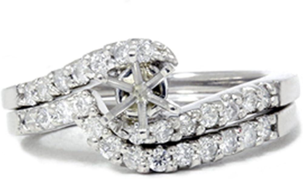 1 2ct Semi Mount Engagement Ring 14K favorite Curve Wedding Set Jacksonville Mall