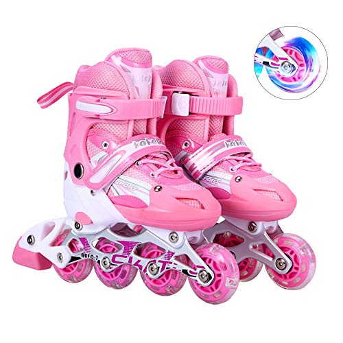 Adjustable Kids Inline Skates for Girls Boys, Outdoor Fun Illuminating Rollerblades with Light Up Wheels for Beginners, Children and Adults,Rosado,M