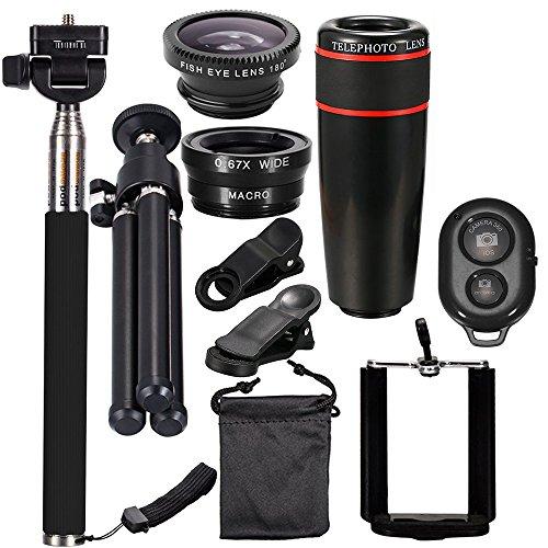 Conjunto de lentes de câmera 10 em 1 Andoer 8X conjunto de lentes universais de telefoto com grande angular + olho de peixe + lente macro + bastão de selfie + tripé (preto)