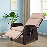 Grand Patio Indoor & Outdoor Recliner Chair Adjustable Integrated Side Table with All-Weather Wicker
