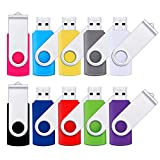 Flash Drive 16GB USB 2.0 10 Pack Swivel Blank Memory Stick Pnstaw Bulk Thumb Drive Pen Drives Jump Drive for Data Storage, File Sharing(10 Pack,Multi-Color) (16GB)