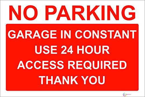 Segnale di divieto di parcheggio, scritta inglese 'No Parking'  formato A4, 20 x 30 cm, vinile autoadesivo