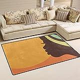 Yibaihe Alfombra decorativa para salón o dormitorio (79 x 51 cm), diseño de mujer africana, 100% poliéster, multicolor, 79 x 51 cm (31 x 20 in)