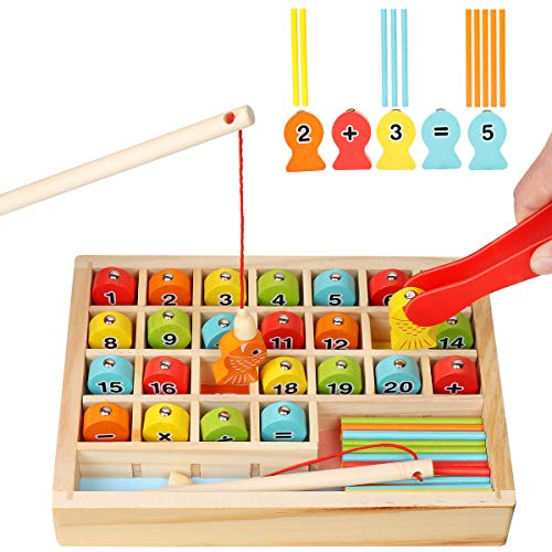Wooden Magnetic Fishing Math Game, Montessori Learning Toys Fine Motor Skills Color Sorting Number Counting Preschool Education with 2 Fishing Poles 1 Clamp for Toddler Kids Age 2 3 4 5 6 Years Old
