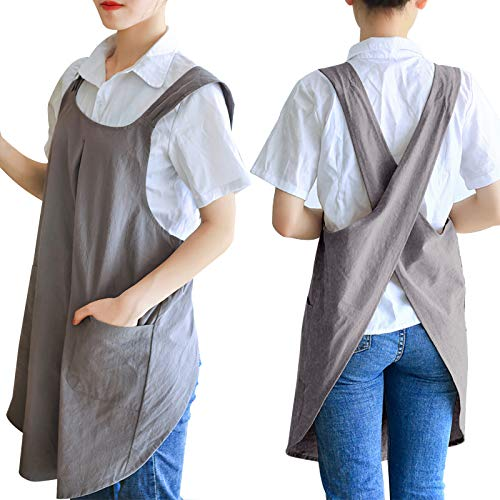 Zakicol Women Cross Back Apron Baking Gardening Cleaning Works Cotton/Linen Blend Apron with 2 Pockets Grey