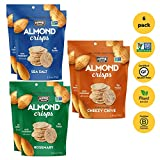 Hippie Snacks Almond Crisps, 2 each of Sea Salt, Cheesy Chive & Rosemary, Plant-based, High Protein, Gluten Free Snack or Crackers for Charcuterie Boards, 2.5oz, Variety Pack of 6