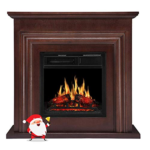 Joy Pebble 36'' Wood Electric Fireplace Mantel Package Freestanding Heater Firebox with Log Hearth and Remote Control,750-1500W (Dark Espresso)