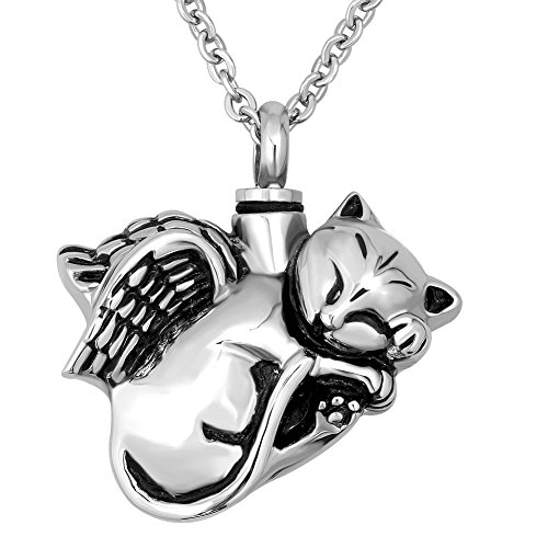 CharmSStory Angel Cat URN Necklace for Ashes Keepsake Memorial Cremation Pendant