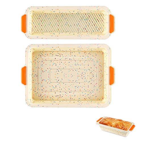 UTRUGAN 2 Stück Brot Backform Antihaft Brotbackform Rechteckig Toast Box Silikon Kastenform Brötchen Backform Königskuchenform für Brot, Kuchen, Quiche, Topfkuchen (2 Größen)