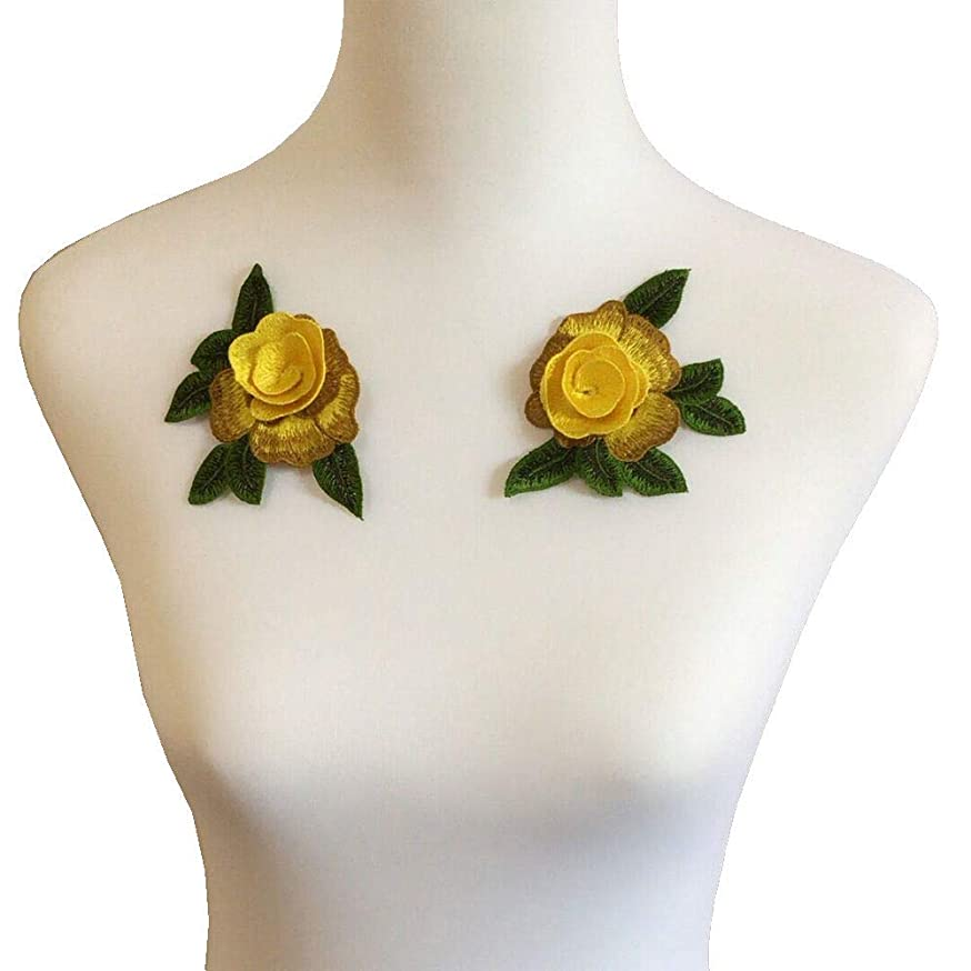 2pcs Yellow Rose Peony Flower Patch Embroidered Garment Appliques Sew on Patches Clothes Cheongsam Wedding Dress Accessory (Style D Yellow)