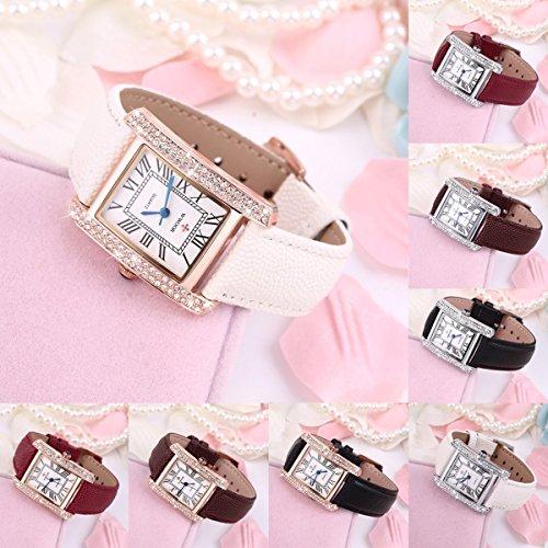 Gugutogo Wwoor elegante cristallo donne quadrato orologio da polso al quarzo Office Lady (colore: Golden custodia + fascia bianca)