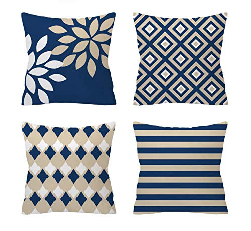 Emvency Set of 4 Pillow Covers Decorative Cushion 18' x 18' Geometric Stripe Blue and Beige Stripes The Shape of Flower Decor with Hidden Zipper Polyester Home for Couch Bed