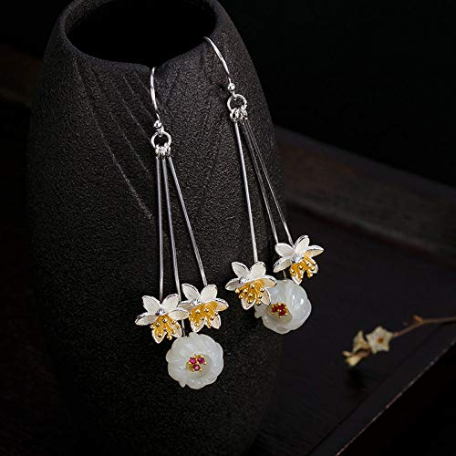 Women'S For Drop Earrings, S925 Silver Tassel Plum Natural Hetian Jade Dangle Hook Earrings For Women And Girls Handmade Unique Creative Luxury Women'S Jewelry Gift