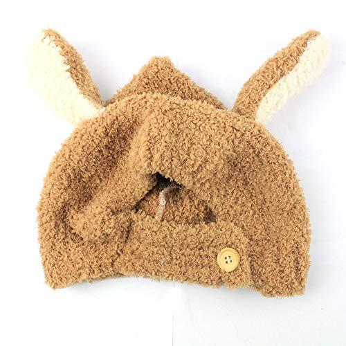 Y-WEIFENG New Bestknit bébé Filles Pompon Chapeau Props Crochet Tricoté Pom Pom Chapeau Bonnet Earflap Beanie Chaud Automne Hiver (Couleur : Marron)