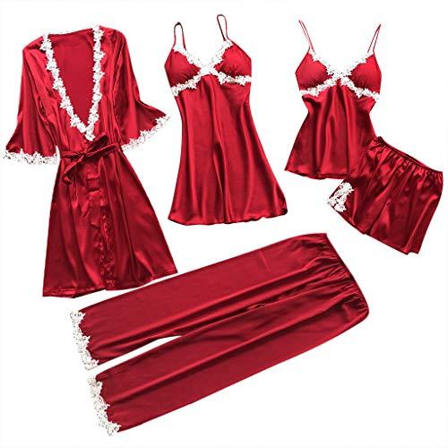 riou Conjunto de lencería Mujer,Ropa Interior Encaje Erotica Moda Sexy Ropa de Dormir camisón Kimono Cardigan túnicas Vestido Sedosa cómoda 5 Piezas Atractiva Babydoll Pijamas