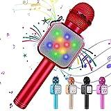 KIDWILL Micrófono de Karaoke Inalámbrico con Bluetooth para Niños y Adultos 5 en 1 Micrófono de Karaoke de Mano con Luces LED, Micrófono Portátil para Fiesta de Cumpleaños KTV Navidad (Rojo)
