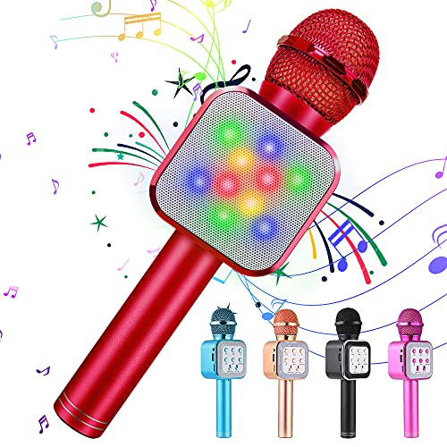 KIDWILL Wireless Bluetooth Karaoke Microphone 5 in 1 Handheld Karaoke Microphone with LED Lights, Portable Microphone for Kids Adults Birthday Party KTV Christmas (Red