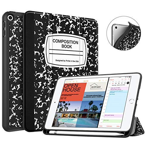 Fintie Case with Pencil Holder for iPad Mini 5 2019 - [SlimShell] Lightweight Soft TPU Back Protective Smart Stand Cover with Auto Wake/Sleep for iPad Mini 5th Generation 7.9', Composition Book Black