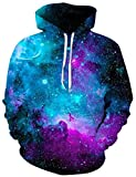 Goodstoworld Blue Galaxy Graphic Hoodie 3D Digital Print Hoodies Adults Realistic Cool Pullover Sweatshirt Casual Teen Girls Boys Party Hooded School Party Funny Clothes with Pockets
