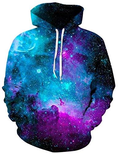 Loveternal Blau Galaxy Design 3D Druck Kapuzenpullover Sweatshirt für Frauen Männer mit Kordelzug Taschen M