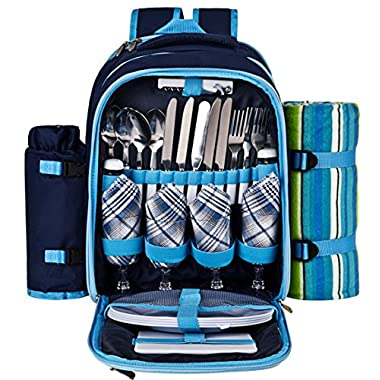 Ferlin Picnic Backpack for 4 With Cooler Compartment, Detachable Bottle/Wine Holder, Fleece Blanket, Plates and Cutlery Set (Blue)