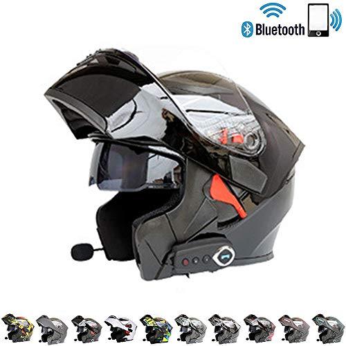 Modularer Motorradhelm Motocross Cross Helm Motorradhelm Bluetooth integriert - Verbinden Sie Navigation/Telefon/Musik,T4,XXL(63~64) cm