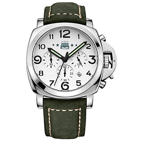 YUN Reloj de Hombre Correa de Cuero Impermeable Analogico Cuarzo Reloj Regalo Hombre-Calendar Function, Chronograph, Display Day of The Week (Color : Green)