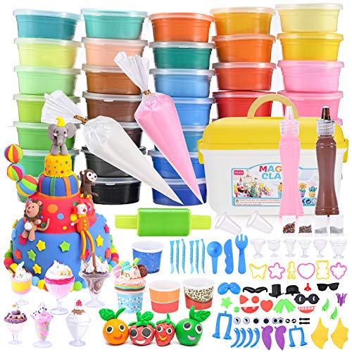 GOLDGE Knete Set 36 Farben Kinderknete Set Knete Set ab 3 Jahre DIY Knete Set Handgemachtes Kinderspielzeug Gastgeschenke für Kinder ab 3 Jahre