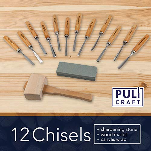 Puli Craft Wood Carving Knife Tools Set - Gouges Chisels Sharpening Stone Mallet Beginner Woodworking Kit with Canvas Case - Precision Cutting & Shaping for Personal Use Whittling