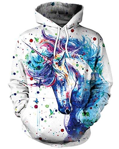 ENLACHIC Women's Unicorn Sweatshirt Hoodies Pullover,Paint Unicorn,XXL