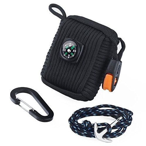 Paracord Sopravvivenza Gear, Bracciale di sopravvivenza con fischietto, corda Paracord E Fire Starter Kit di sopravvivenza, con attrezzi da pesca, Corda e Fire Starter, Portachiavi con corda Paracord, Survival Kit Black + Bracelet