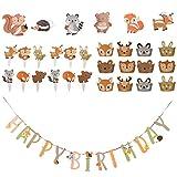 Amosfun 31 Stück Waldtiergeburtstagsfeier Liefert Tiergeburtstagsbanner Cupcake Wrapper Kuchendeckel Kindergeburtstagsfeierdekorationen