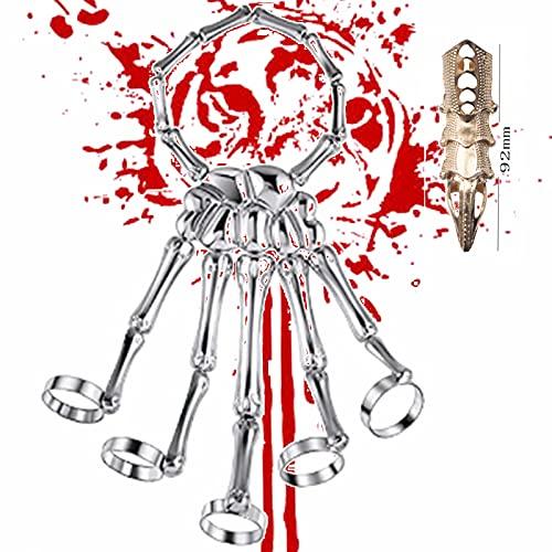 Pulsera y anillos reunidos en una mano de esqueleto de dedo, pulsera de calavera de aleación, esqueleto, esclavo, pulsera punk, anillo para hombre, calavera armadura en forma de anillo