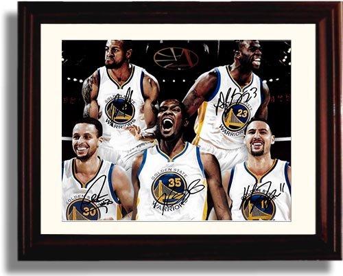 Framed Golden State Warriors 2017 Team - Curry, Thompson, Durant, Green & Bell - Autograph Replica Print