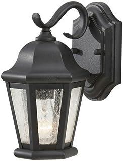 """Feiss OL5900BK Martinsville Outdoor Patio Lighting Wall Lantern, 1-Light, 100 Watt, Black (6""""W x 11""""H)"""