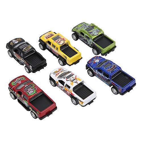 Modelo de Coche, aleación de plástico 1:64 Modelo de camión de simulación, Retroceso para niños Adultos(Devil Pickup (a Set of 6 Models))