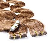 Hair2Heart 10 x 2.5g Extensiones Adhesivas de Pelo Natural - 40cm - Corrugado, Color  8 Bronceado
