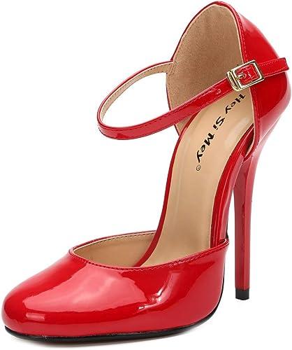 Bout Rond Plate-Forme Escarpins Femme Bout Bout Fermé Sangle de Cheville Les Les dames Super Talon Haut Métal Enfer Plate-Forme Fête des Chaussures, Rouge  acheter en ligne