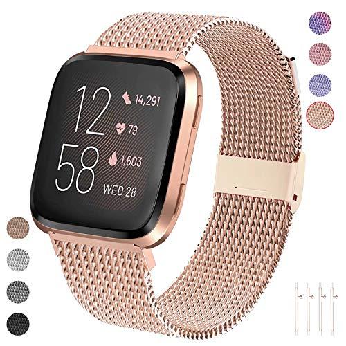 Qunbor Armband kompatibel mit Fitbit Versa/Versa Lite Edition/Versa 2 für Frauen Mann, Metall Edelstahl Ersatzband Armbänder Sport Uhrenarmband für Fitbit Versa Smartwatch Klein Groß (Rosegold S)