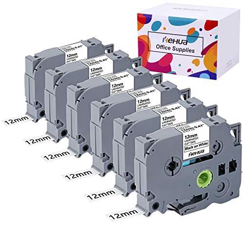 Hehua Tze-231 Kompatibel Schwarz auf Weiß Tze-231 Schriftband P Touch, P Touch 12mm Schriftband Tze-231 für P-touch H100lb H100r H101 H101c H105 H75 PT-1010 PT-1080 (12mm X 8m, 6-Pack)