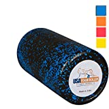 USA Foam Roller, Extra Firm High Density Foam Rollers for Exercise - 12 inch Black & Blue (2.8lbs/ft³ Density) with 3 Year Warranty