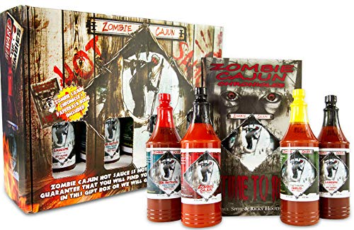 Zombie Cajun Hot Sauce Gift Sets - 4 Full Size (6oz) Bottles of Traditional Creole Slow Cooked Louisiana Hot Sauces. It's Not About the Hot It's About the Flavors, Plus a Zombie Book w/ Recipes