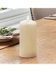 Lights4fun - TruGlow® Vela sin Llama LED a Pilas en Cera Blanca con Mecha y Llama Realista