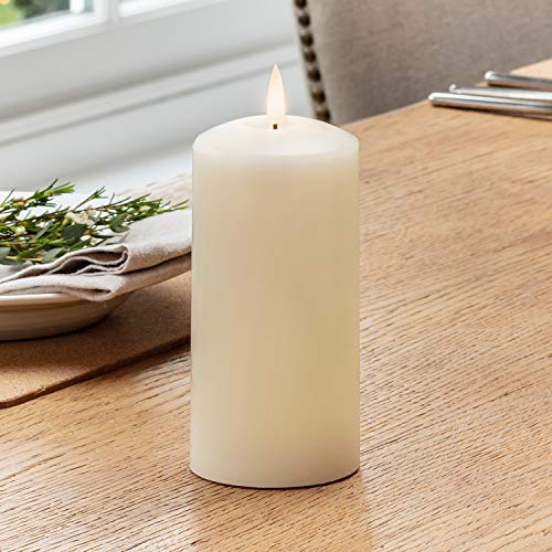 Lights4fun Large TruGlow Pillar Candle Battery LED Flameless with Timer 15cm Real Ivory Wax