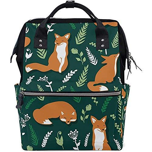 Bernart Dessin animé forêt Fox Motif Sacs À Langer Momie Tote Bags Grande Capacité Sac À Dos Multi-Fonction pour Voyage