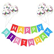 Package Included: 13pcs colorful letters cards,6 Pcs colorful confetti balloons Size: This banner is made with heavy card stock, each flag measures approx 6.3 inches wide x 7.8 inches long. durable,reusable and environmentally High Quality Birthday D...