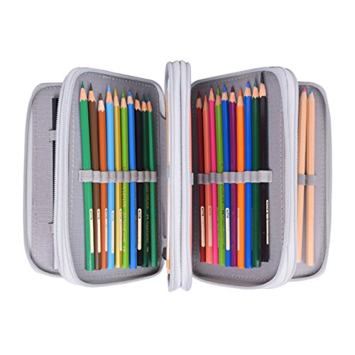 Newcomdigi Estuche Bolso Caja de Lapices Colores 72 Ranuras Portálapices Organizador de Alta Capacidad para Lapices de Colorear Dibujo Acuarela Arte Oficina y Maquillaje Coméstico Gris